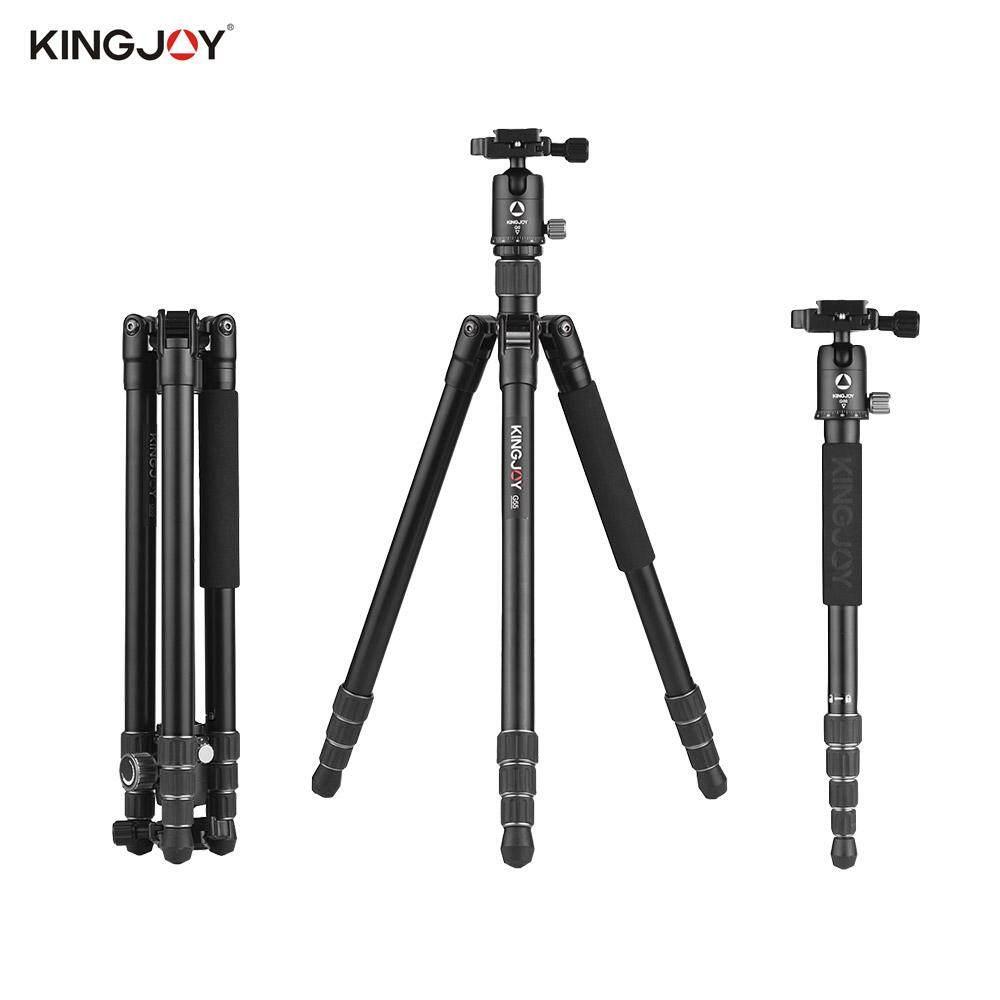 Kingjoy G55 + G0 Aluminium Aloi 4 Bagian Tripod Bepergian Monopod Pasangan dengan Panorama Kepala Bola Kunci Putar Desain untuk Nikon Sony Canon Kamera DSLR Max. tinggi 155.5 Cm Max. beban 10Kg-Intl