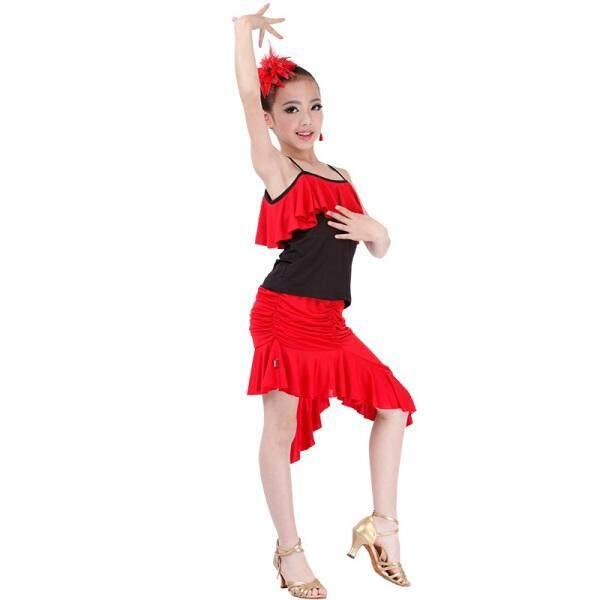 Chao Po Menunjukkan Tari Latin Kostum Kostum Setelan Musim Panas Anak Wanita Latihan Pakaian Anak Baru Tarian Latin tips Bayi Ini Tidak Mengandung Hiasan Kepala Dan Anting Jangan Menembak S (Merah S05 + Q03) -Internasional