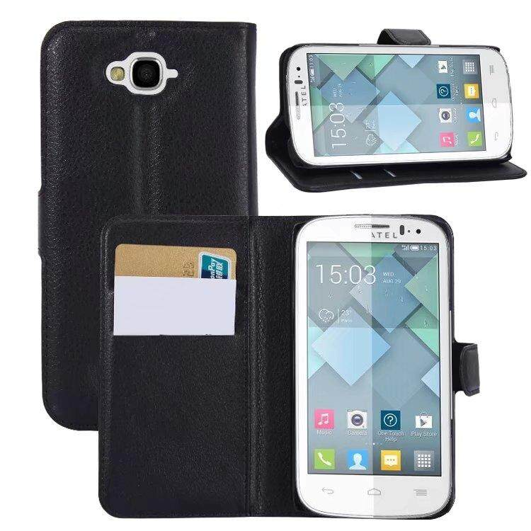 Leather Flip Cover Wallet Card Holder Case For Alcatel POP C7 / OT7040 - intl