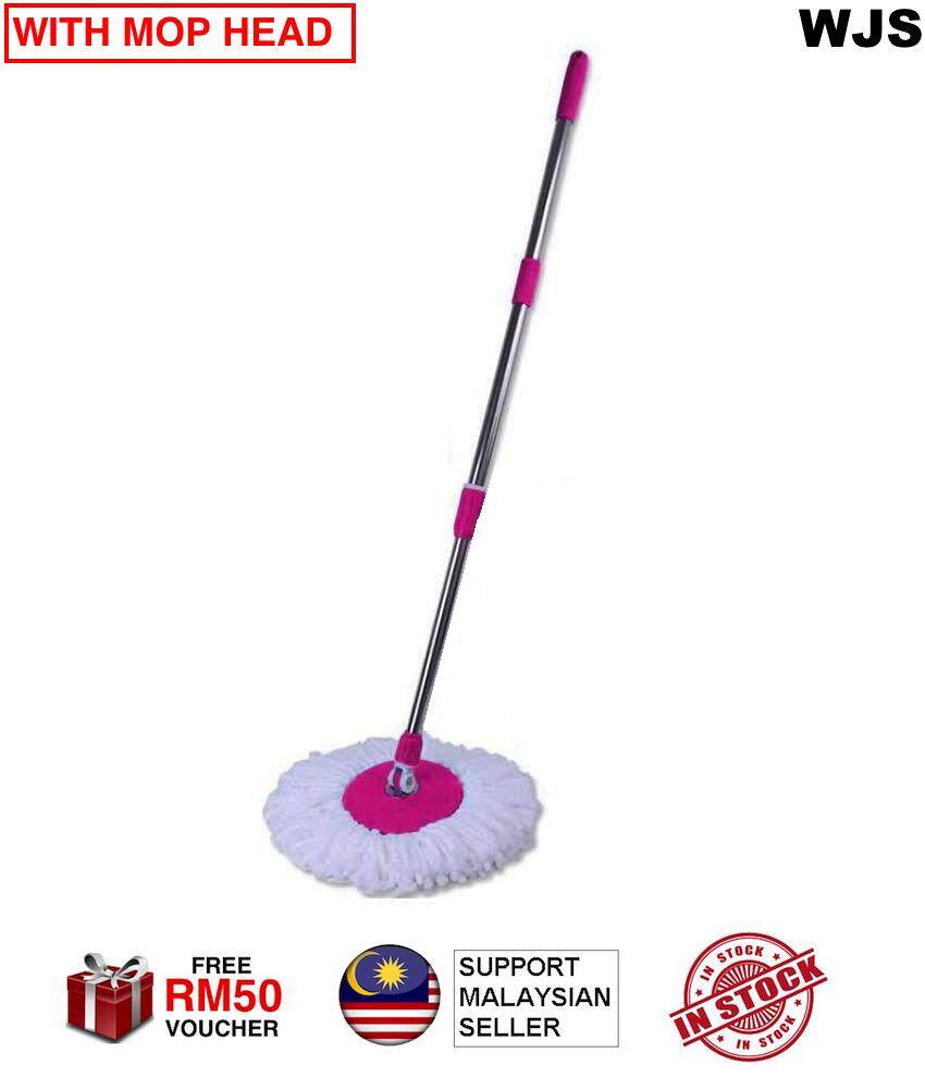 (WITH MOP CLOTH) WJS Twistable Stainless Steel Easy Spin Mop Sheep Mop Magic Mop Lazy Mop Easy Mop Thicker Mop Handle with MicroFibre Mop Cloth BLACK BLUE GREEN PURPLE RED PINK [FREE RM 50 VOUCHER]
