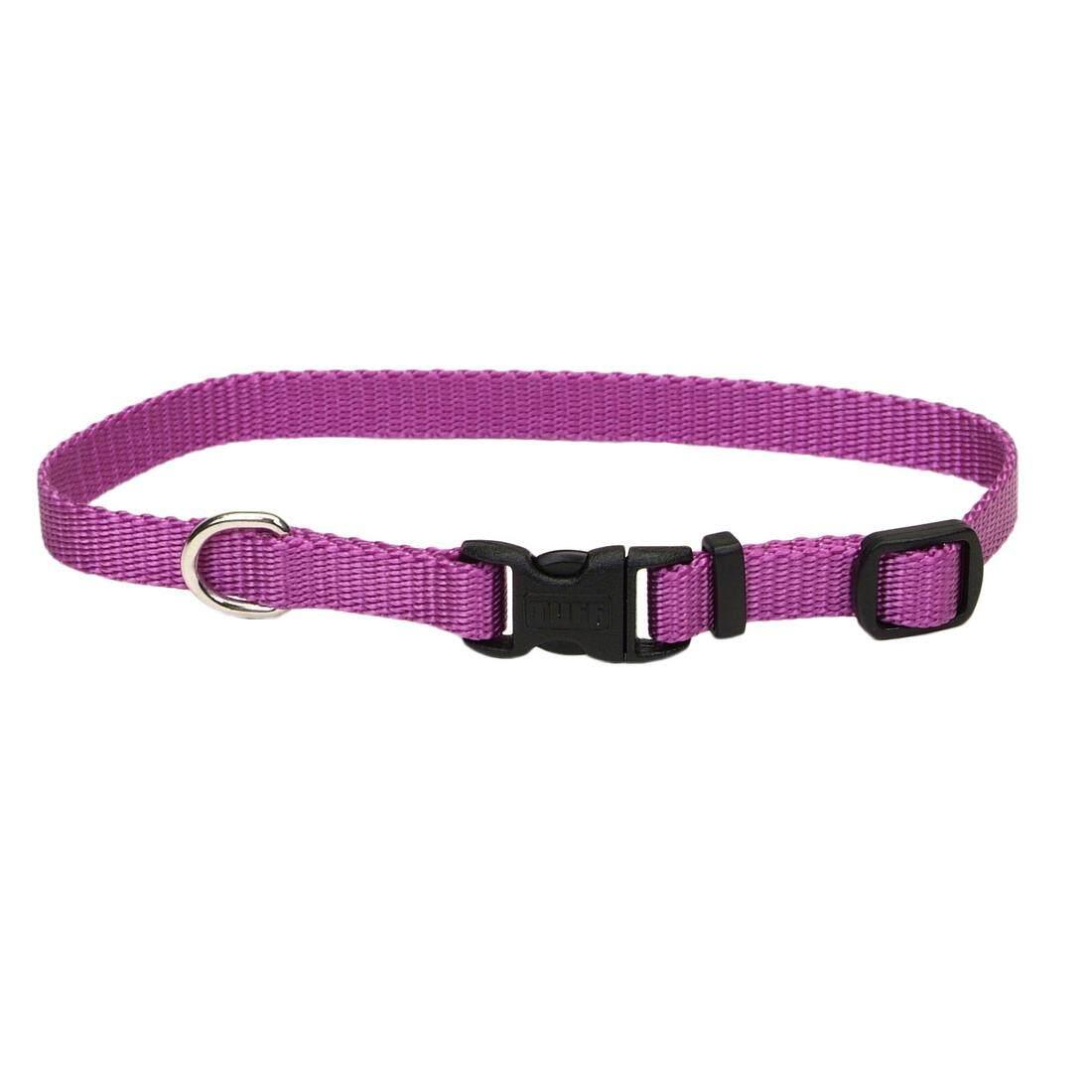"[Coastal] Adjustable Nylon Dog Collar with Plastic Buckle 5/8"" S - Orchid"