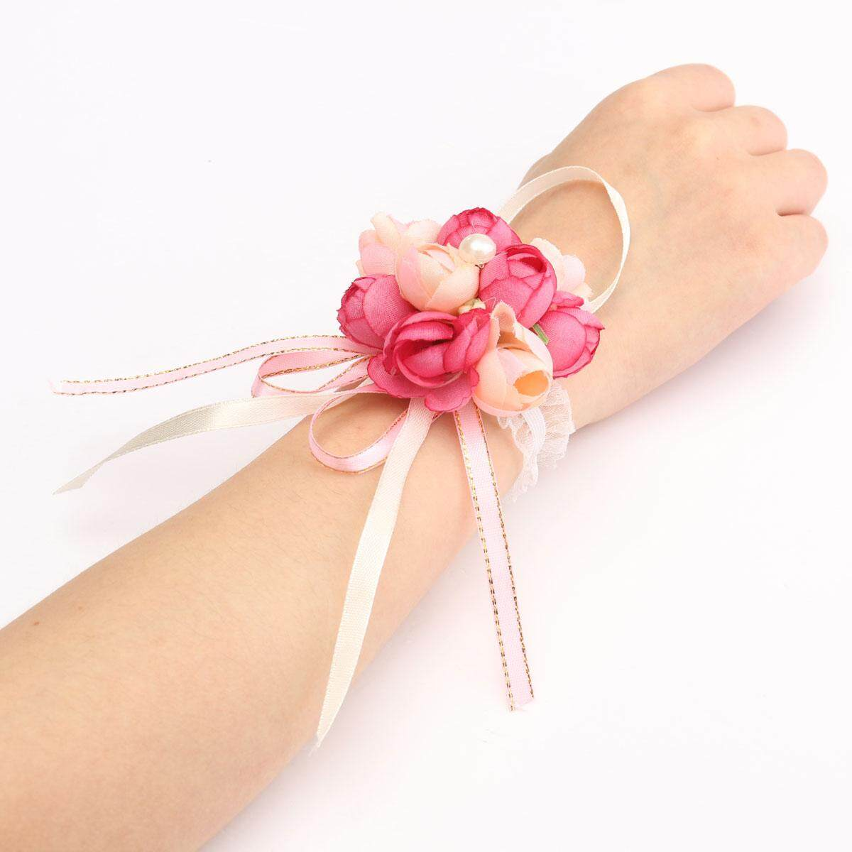 Wedding Silk Bridal Bridesmaid HandMade Bouquet Hand Flowers Wrist Corsages Rose Red and Pink