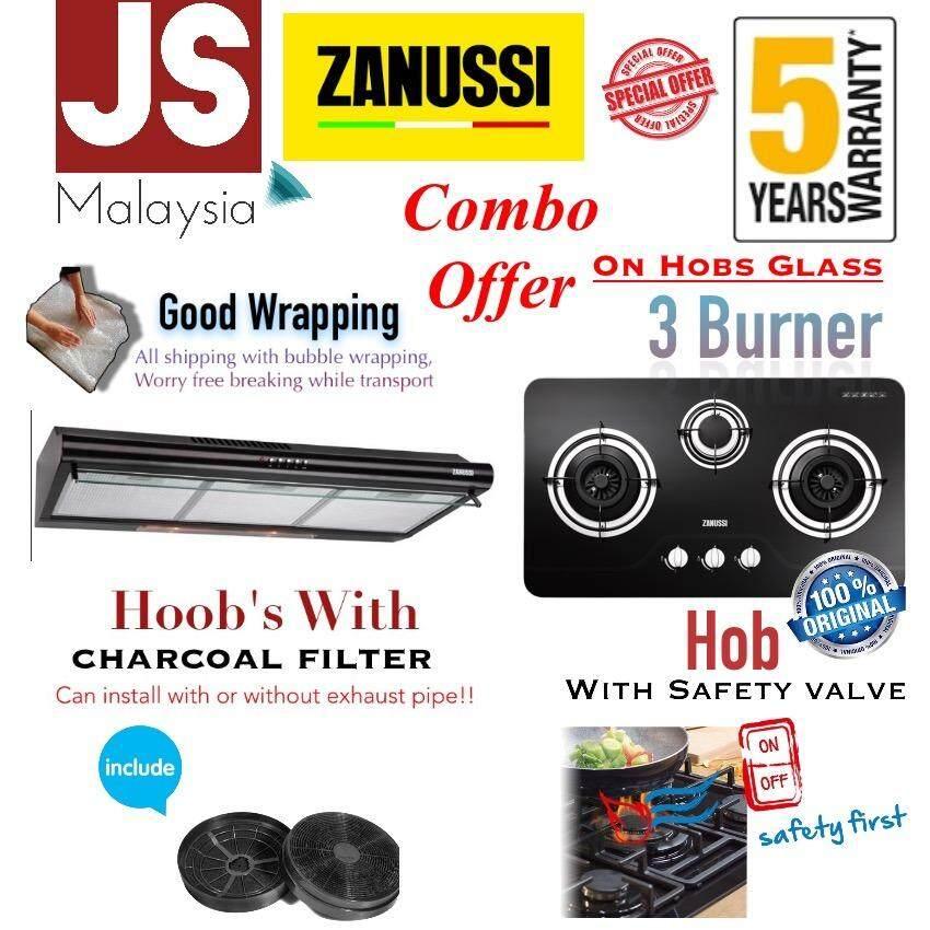 [Combo Offer] Zanussi 3 Burner hob ZGB752K + 90CM Cooker Hood ZHT962K