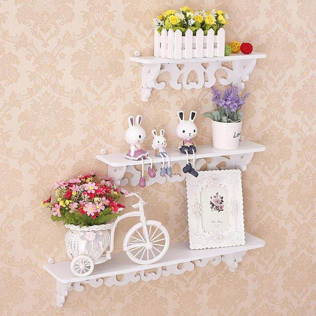 GETEK One Set White Three Pieces White Wood Display Wall Shelf Storage Ledge Home Dector