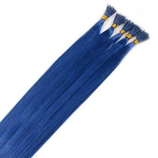 Brazilian Lurus Human Rambut Ekstensi I-tip 100% Virgin Lurus Ekstensi 100 Helai Per Paket Warna Biru #- internasional