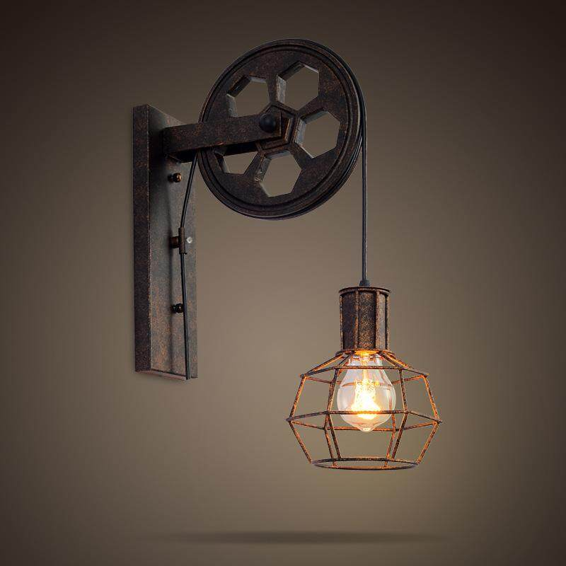M_home Antique 220 V Vintage Iron American Wall Lamp Modern Black Wall Lights For Bedroom Hallway Wall Sconce Retro Indoor Wall Lamp For Reading - intl