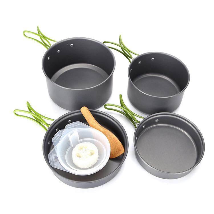 Outdoor Portable 2-3 Persons Cooking Pot Bowl Pan Set Camping Picnic Tableware Cookware -