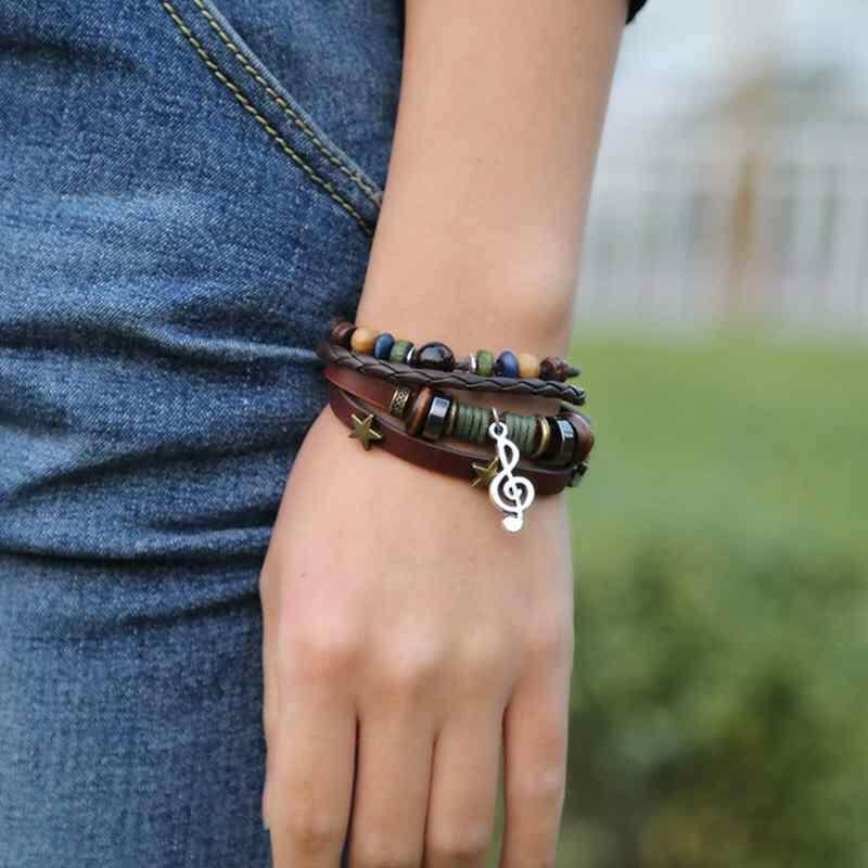 Unisex Real Leather Bracelets Multi-Layer Punk Beaded Adjustable Bracelet By Poya.