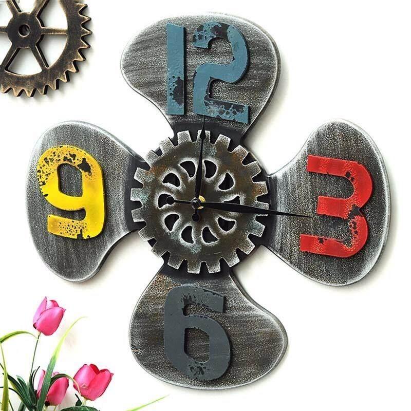 Ecorative Jam Besar Industri Kerajinan Kayu Kipas Vintage Jam Dinding Stiker Ruang Tamu Dekorasi Kafe Bar
