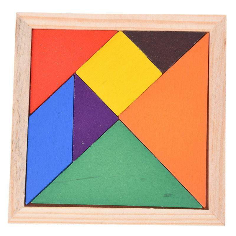 Educational Wooden Seven Piece Puzzle Jigsaw Tangram Brain Teasers Baby Toy By Happyang.