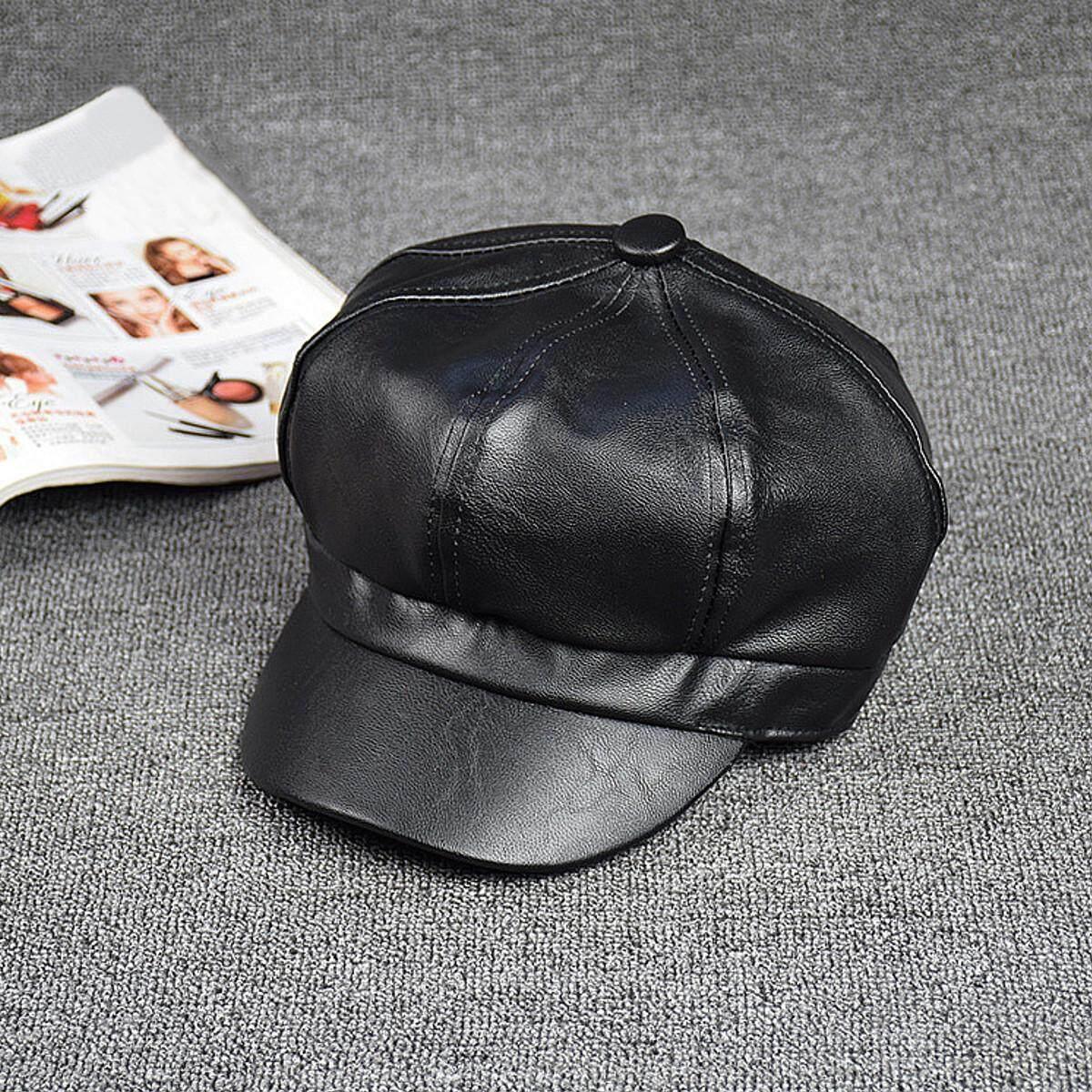 Wanita Kulit Hitam Topi Segi-delapan Baret Fashion Vintage Seniman Cap Kecantikan Topi Outdoor Topi Runcing