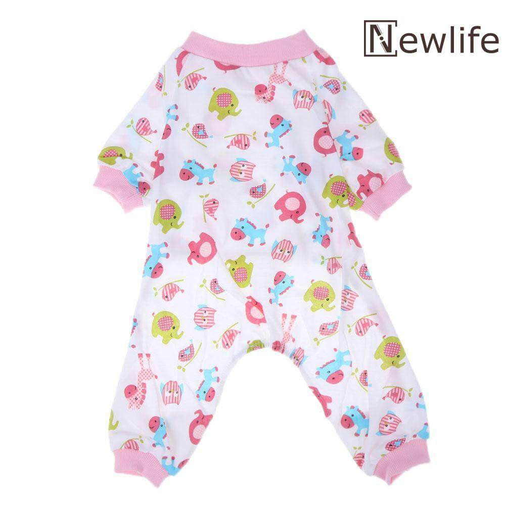 Pet Dog Cotton Pajamas Printed Warm Jumpsuit Sleep Coats Pet Clothes(pink)-Small By Newlifestyle