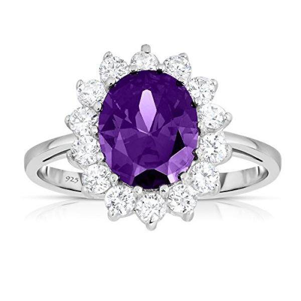 Sterling Silver Purple Amethyst CZ with White CZ Helo Jacket Princess Diana Kate Middleton Engagement Ring - Size 6 - intl