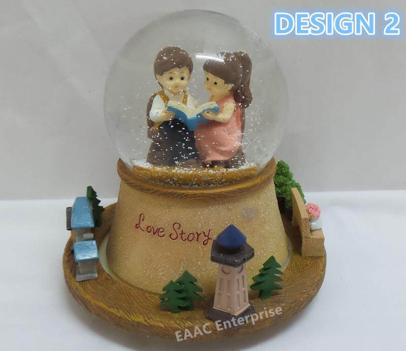 In Love Marriage Couple Snow Ball Spinning Music Box Decoration Gift- Design 2