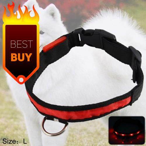 2.5CM NYLON LED LIGHT UP SAFETY PET CIRCULAR PENDANT COLLAR NECK LOOP NECKLACE LIGHT POINT DESIGN WITH PLUG BUTTON PET ACCESSORIES BLUE LIGHT (RED)