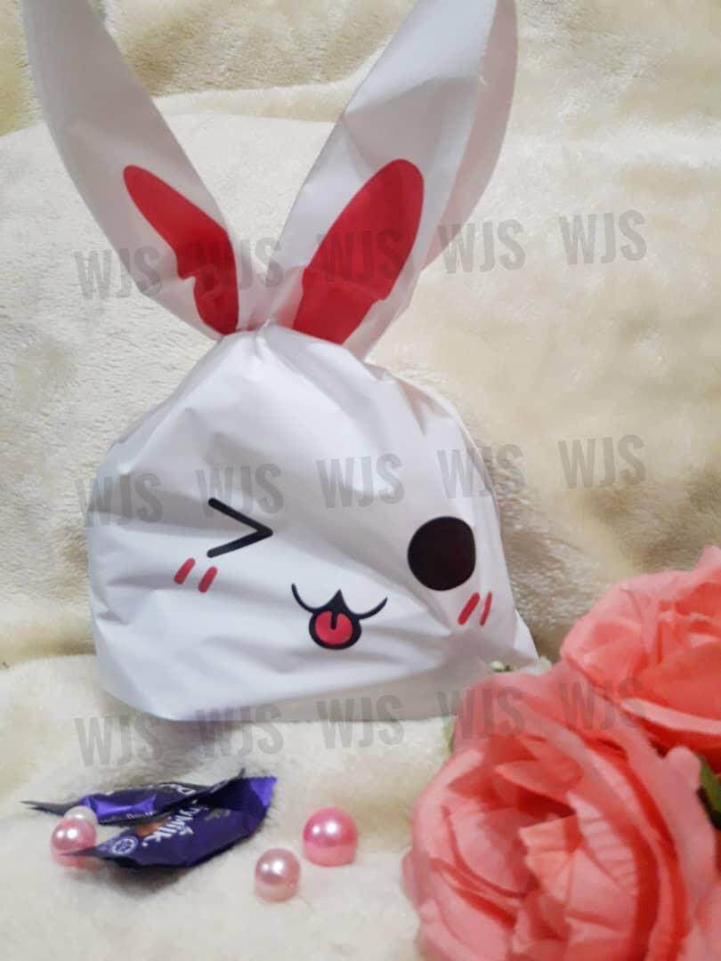 (MULTIPLE SIZES) WJS 50pcs 50 pcs Cute Rabbito Rabbit Winking Tongue Pink Goodies Bag