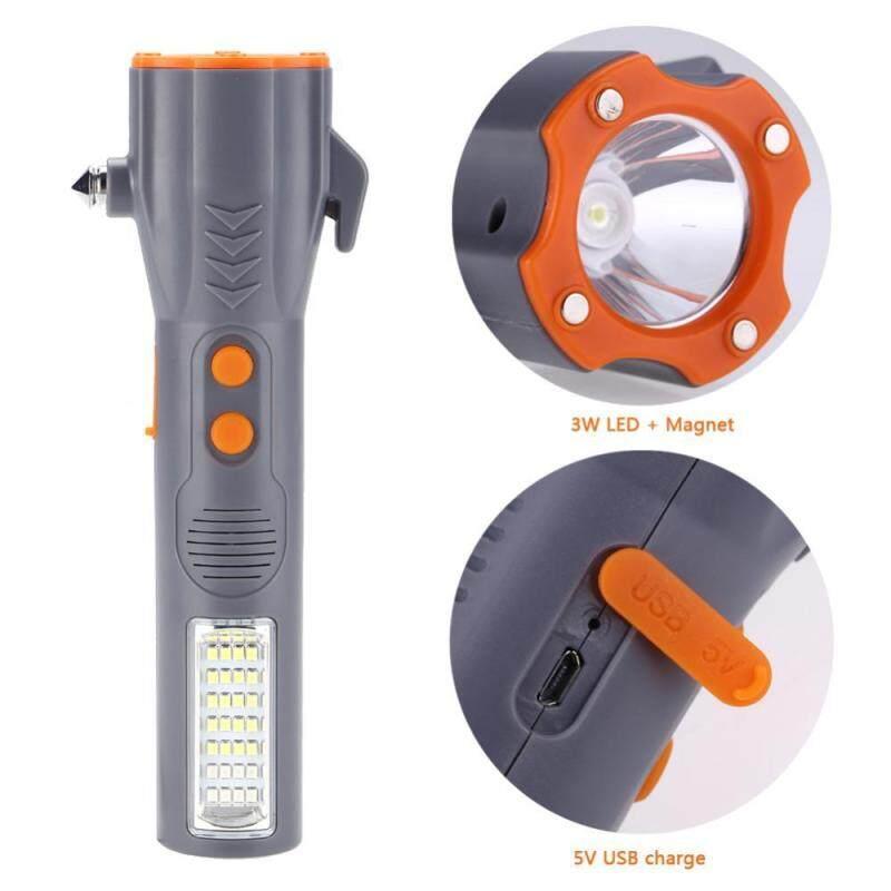 Bảng giá Multi-function 29 LED Flashlight Emergency Hammer Seat Belt Cutter USB Work Safety Light - intl