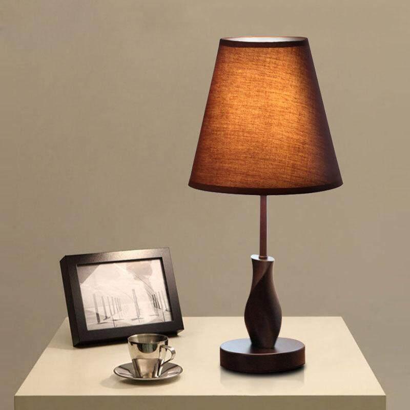 Living Room Lamps Lighting Cloth Modern Minimalist Fashion Wooden Bedroom Bedside Table Lamp Bedside Lamp Warm