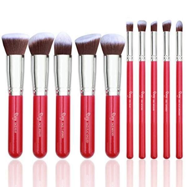 Qivange Riasan Kuas Set, Vegan Bronzer Foundation Eyeshadow Kabuki Brushes Anda Tampilan Tanpa Cela (10 Pcs, mawar Merah With Perak)-Internasional