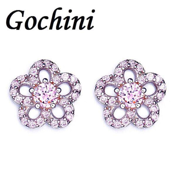 Ms. Gochini fashion plum earrings earrings earrings earrings female short paragraph Ding popular American Imitation Zircon Crystal personality fashion accessories jewelry gift glory(Pink ) - intl