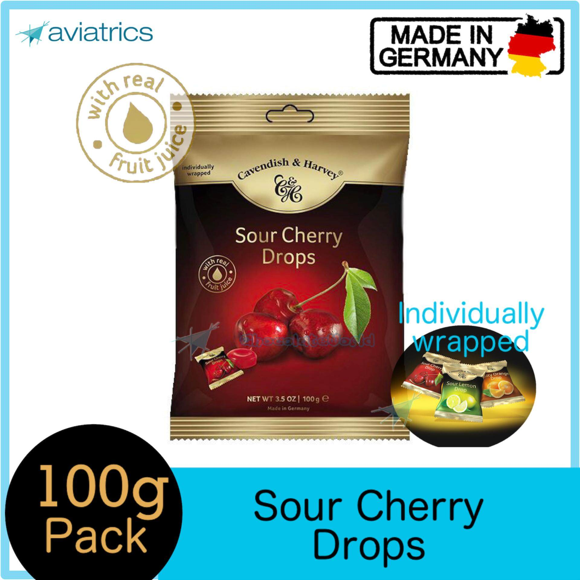Cavendish Harvey Sour Cherry Drops Individually Wrapped 100g (Made in Germany)