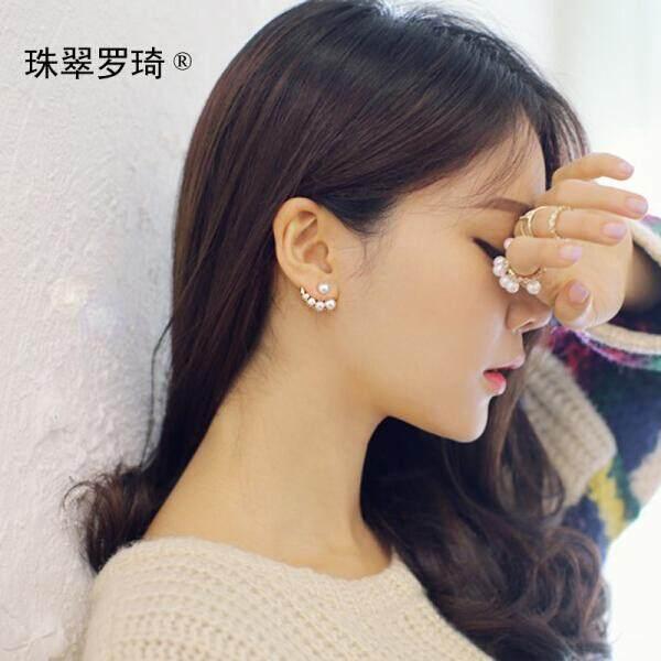 Zhu Qiu Luo Qi Temperamen Berlian Mutiara Melengkung Asimetris Versi Korea AB Stud Anting-Anting Wanita Telinga Perhiasan Beauty Lahir emas (Kecantikan Lahir-Emas) -Internasional