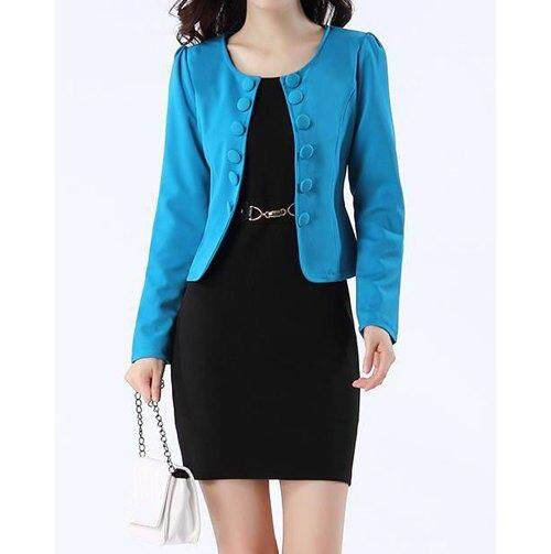 Bergaya Tanpa Lengan Warna Polos Gaun Dan Jaket Ganda Bagian Dada untuk Wanita (Biru)-Internasional