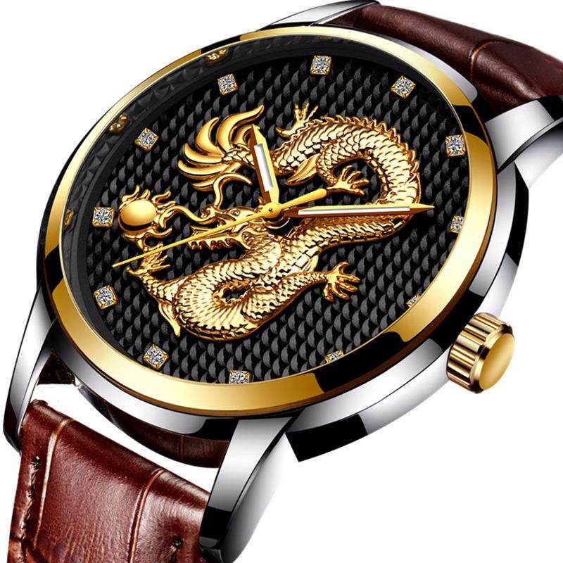 LIGE Top Luxury Brand Men's Sport Watches Leather Gold Quartz Watch Men Casual Waterproof Military Wrist Watch Gift Box - intl