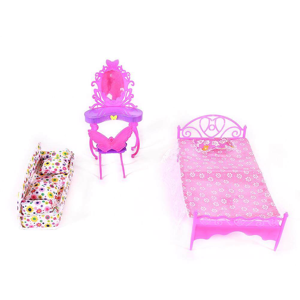 Wonderful Toy Fashion Cute Barbie Princess Girl Dolls House Bedroom  Furniture Toy Set Dresser+Sofa