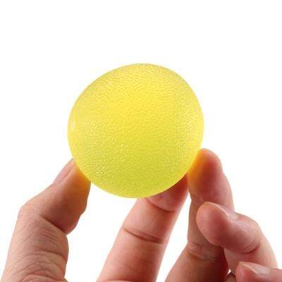 Transparent Silicone Ball Hands Finger Exercise Massage Gripper (YELLOW)