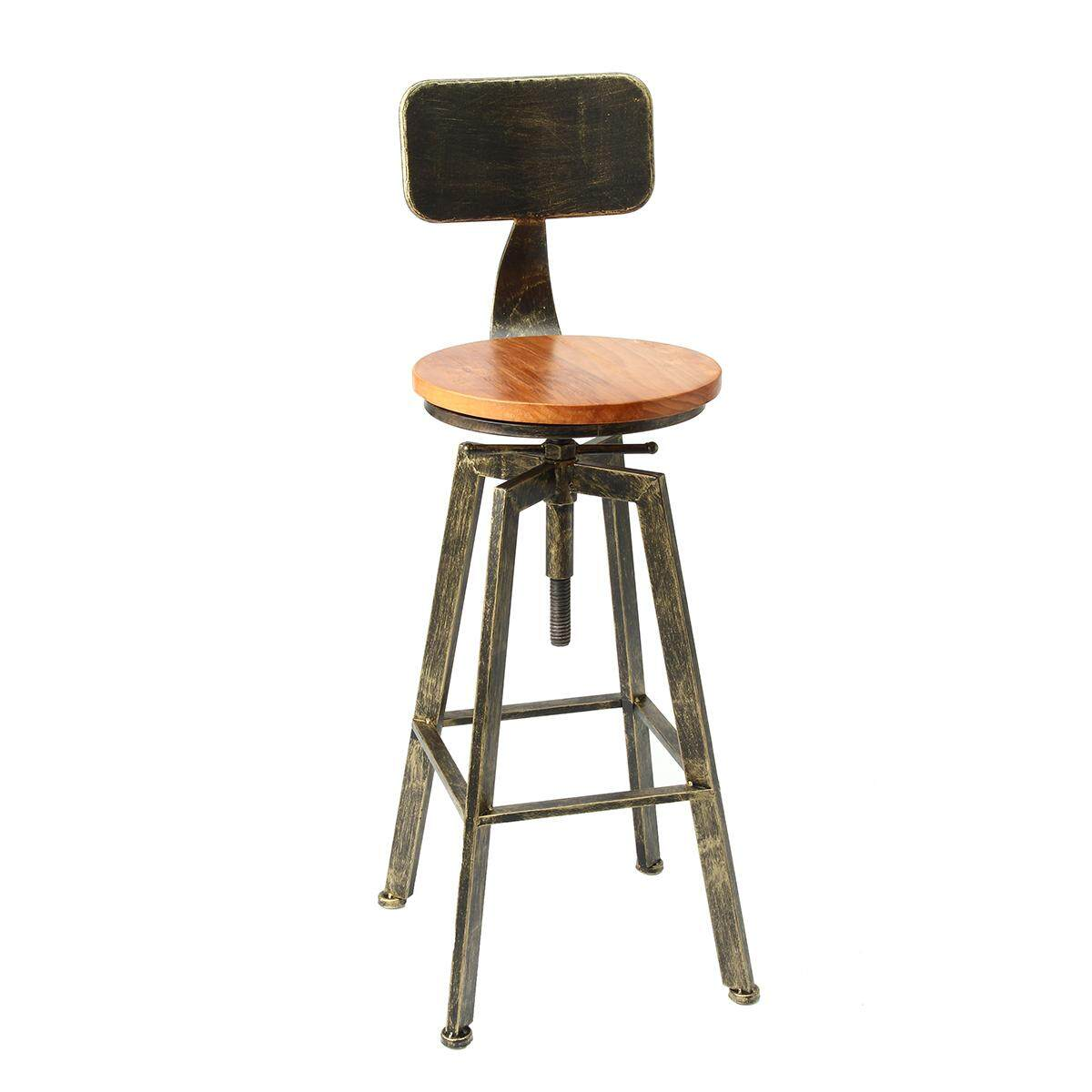 iron bar chairs solid wood bar stool retro industrial design rotating lift high chair dining bronze - intl