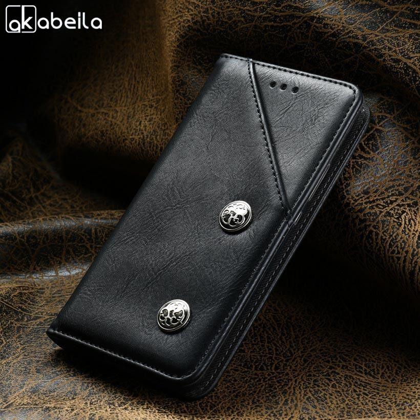 Akabeila Kulit Imitasi Antik Telepon Case S untuk Alcatel A7 XL A7 XL 7071DX 6.0 Inch Dompet Flip Klasik Tas Retro Shell Cover Tempat Kartu smartphone Case TPU Silikon Ponsel Case S