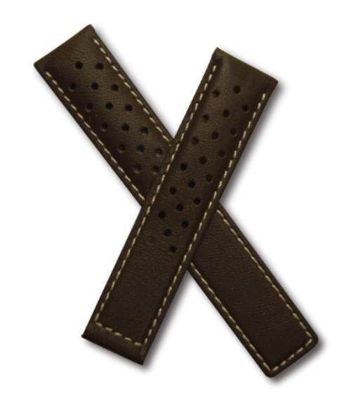19 Mm Cokelat Olahraga Berlubang Kulit Asli dengan Jahitan Putih Agar Sesuai dengan Label Heuer Carrera (Musim Semi Bars Termasuk) -Internasional