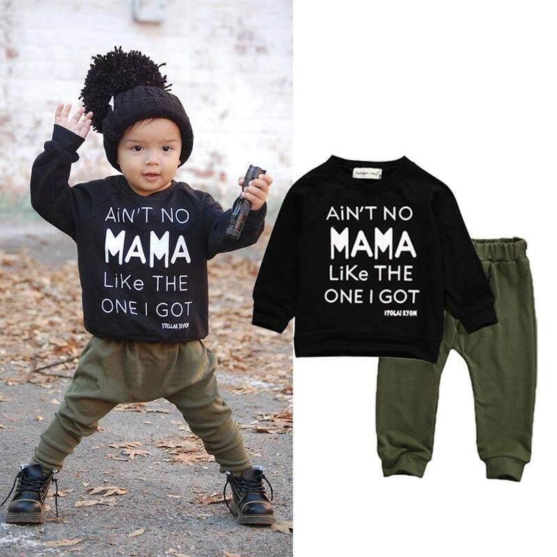 b0572d267f188 2PCS Newborn Toddler Baby Boys Clothes sets Kids MAMA Black Long Sleeve T- shirt +