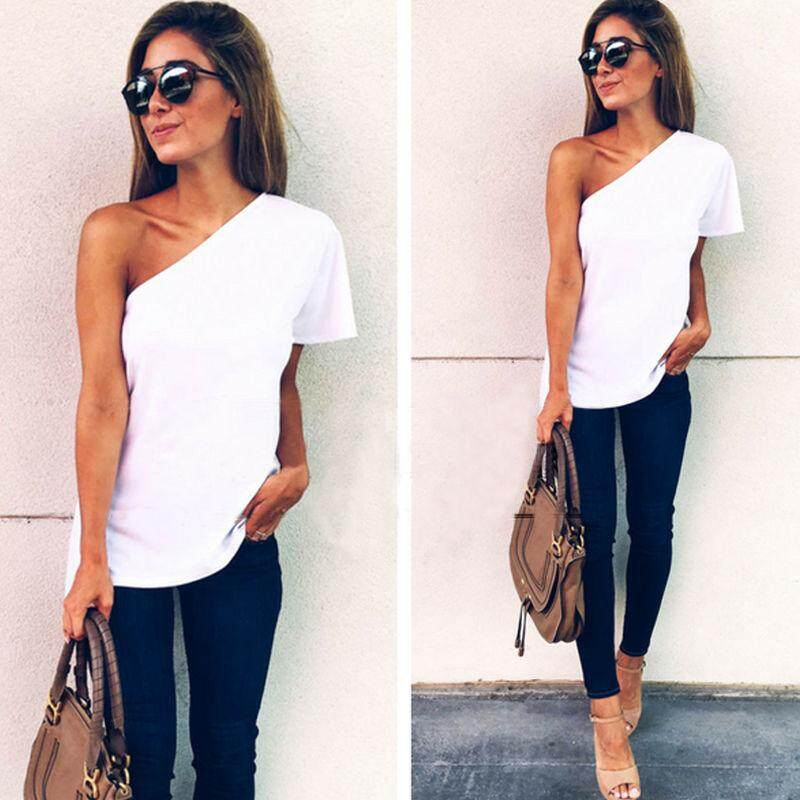 Fashion Summer Women Off Shoulder Short Sleeve Casual TShirt Tops Loose Blouse