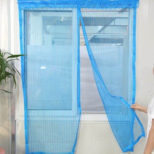 Automatic Closing Magnetic Anti-mosquito Mesh Soft Window Screen 150*180cm(W*H) Blue