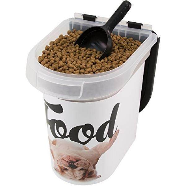 Paw Prints 15 Pound Pet Airtight Food Storage Container, Carlos The Bulldog Design, Includes Snap-In 1 Cup Measured Scoop, 12.5 X 9.75 X 13.38 Inches, 37716 By Buyhole.