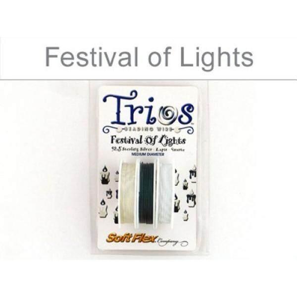 Lembut Fleksibel Trio Manik-manik Kawat-Festival dari Lights-925 Sterling Perak, Lapis, Kuarsa Putih. 019