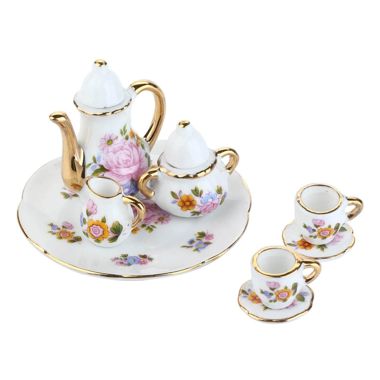 Ceramic Mini Tea Sets Toys Teapot Teacup Dish Saucer Milk Container Sugar Jar 1 6