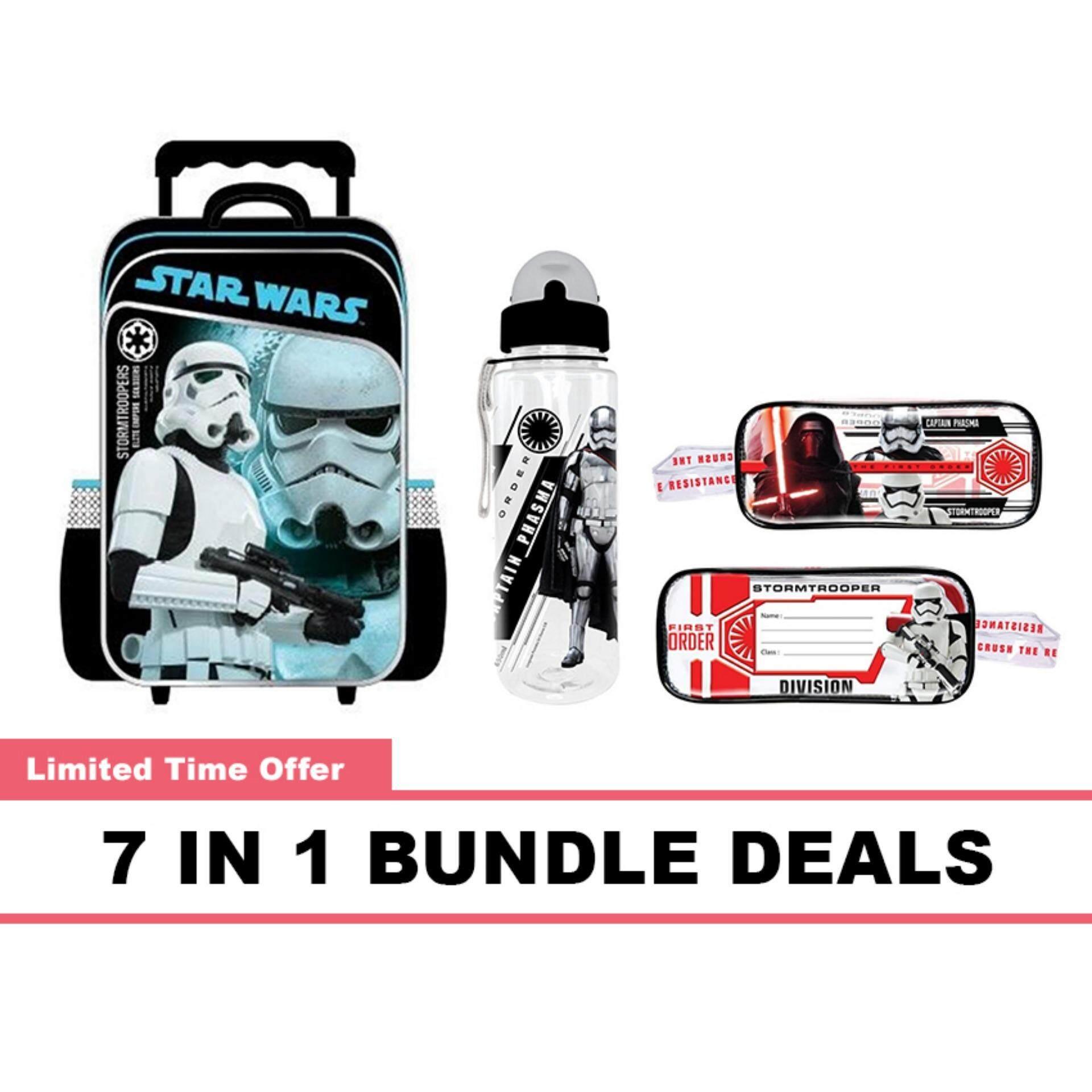 Disney Star Wars Primary School Kids Children School Trolley Bag 650ML BPA Free Water Bottle With Straw Square Pencil Bag Pencil Eraser Ruler & Sharpener 7 In 1 Bundle Deals