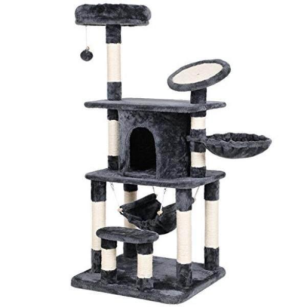 Songmics Multi Tingkat Kucing Pohon Condo Menara dengan Scratching Post dan Alas Kitty Permainan Rumah Furniture Grey UPCT25G- internasional