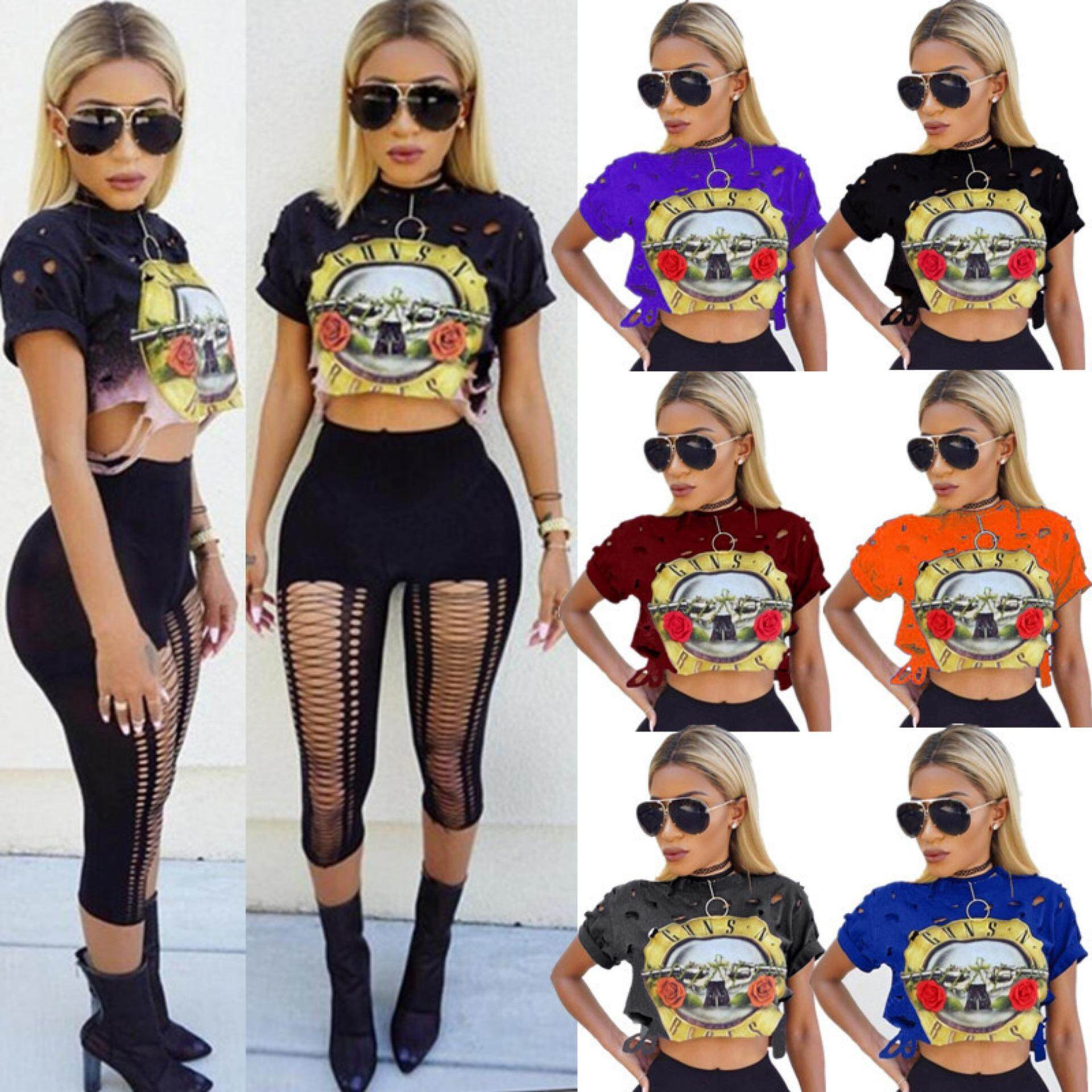 3e0966153576 Sexy Hole Women T-Shirt 2019 New ROSES Print Crop Top T Shirt Cropped Tops