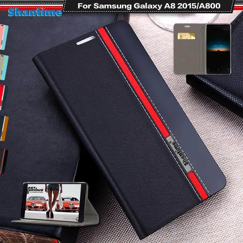 Lipat Telepon Case untuk Samsung Galaksi A8 2015 Antik Colour Stitching Kulit Case Buku Case untuk Samsung Galaksi A800 Case dengan Kartu Slot-Internasional
