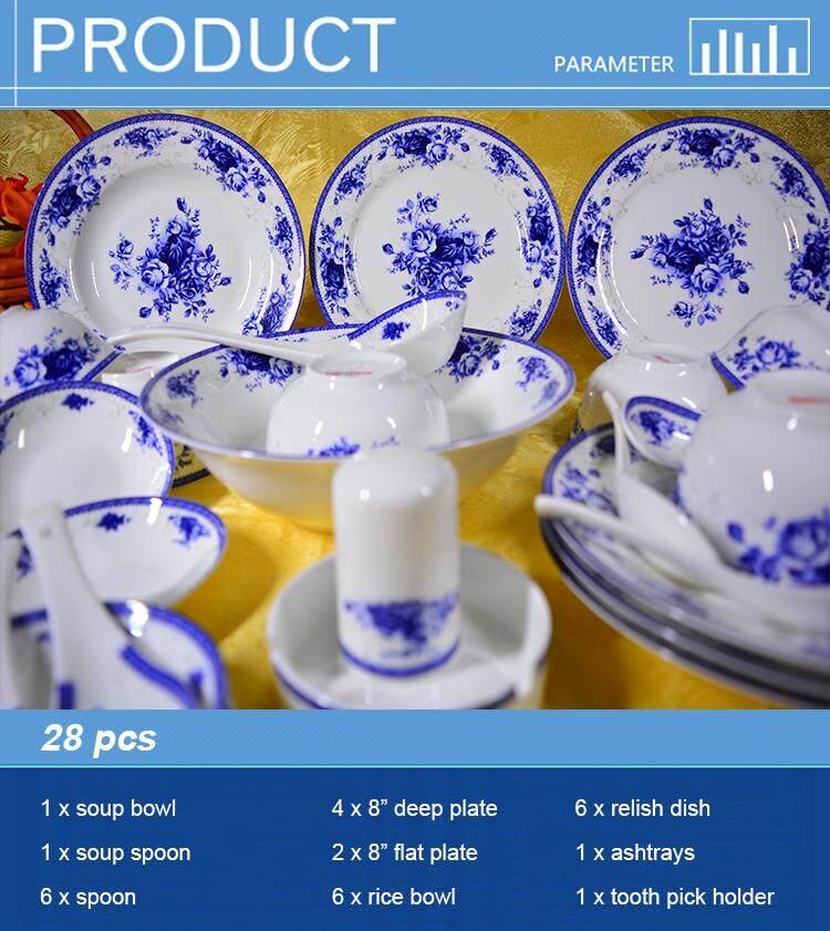 Royal Rose Fine Porcelain Dinnerware Plate 28pcs
