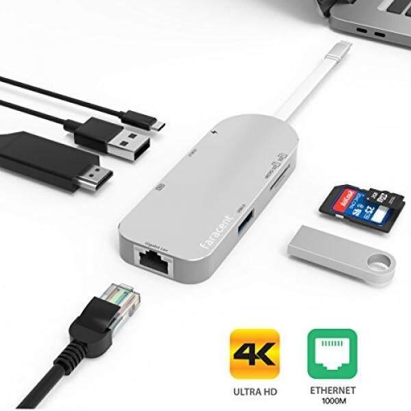 Ale Usb C HUB HDMI 4 K, faracent Usb C Ke HDMI 4 K/30Hz + Gigabit Ethernet RJ45, dengan 2USB 3.0, SD/TF Kartu Pembaca untuk 2017 Macbook 13