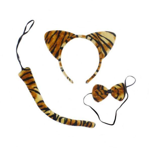 3Pcs Kids Cat Ears Headband Bow Ties Tail Set Party Cosplay Costume (Tiger Stripe)