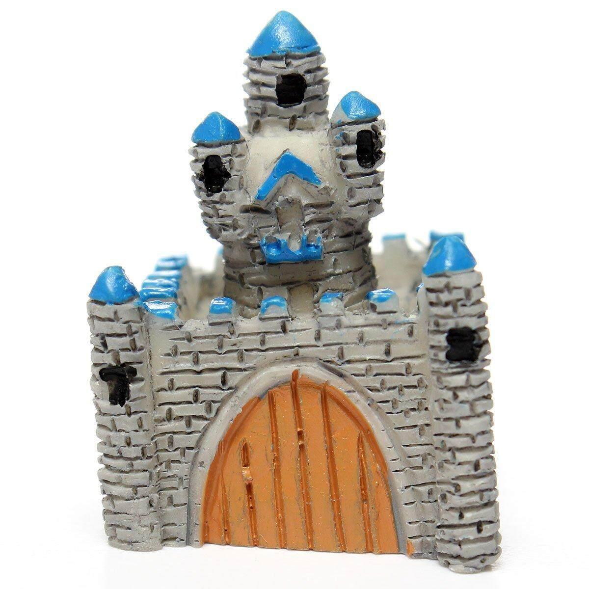 Miniatur Resin Villa Rumah Boneka Peri Ornamen Pot Tanaman Kerajinan Dekorasi Rumah Abu-abu Muda-Internasional