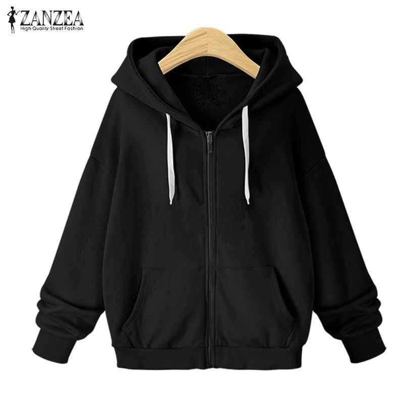 ZANZEA Women Winter Long Sleeve Fleece Zipper Up Hooded Sweatshirt Coat Loose Solid Thick Warm Fashion Jacket Open Front Outwear Black