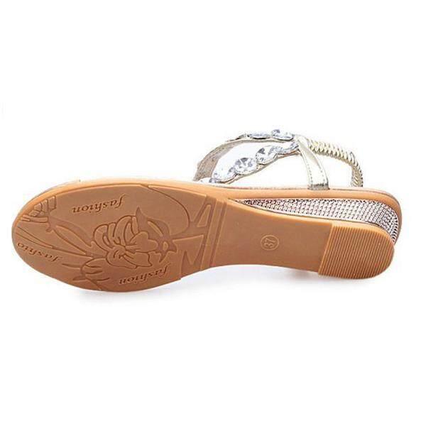 ... Wanita Musim Panas Sandal Berlian Imitasi Datar Platform Sepatu Wedge Sandal Jepit Internasional