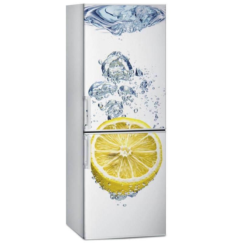 Pengiriman Gratis Diy Lemon Di Air Tahan Air Selfadhesive Stiker Kulkas Pintu Penutup Wallpaper-Intl